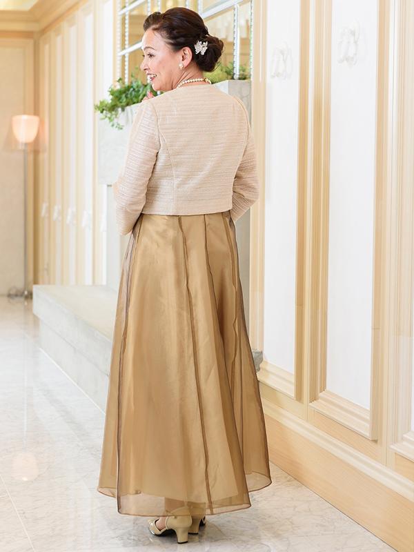 光沢のあるオーガンジーのゴールドカラードレス