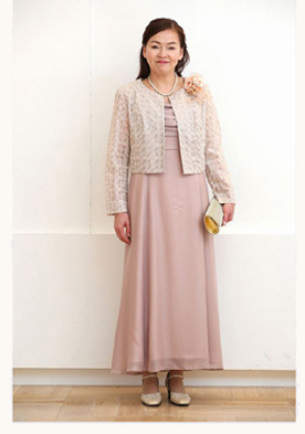 シフォンのロングドレス
