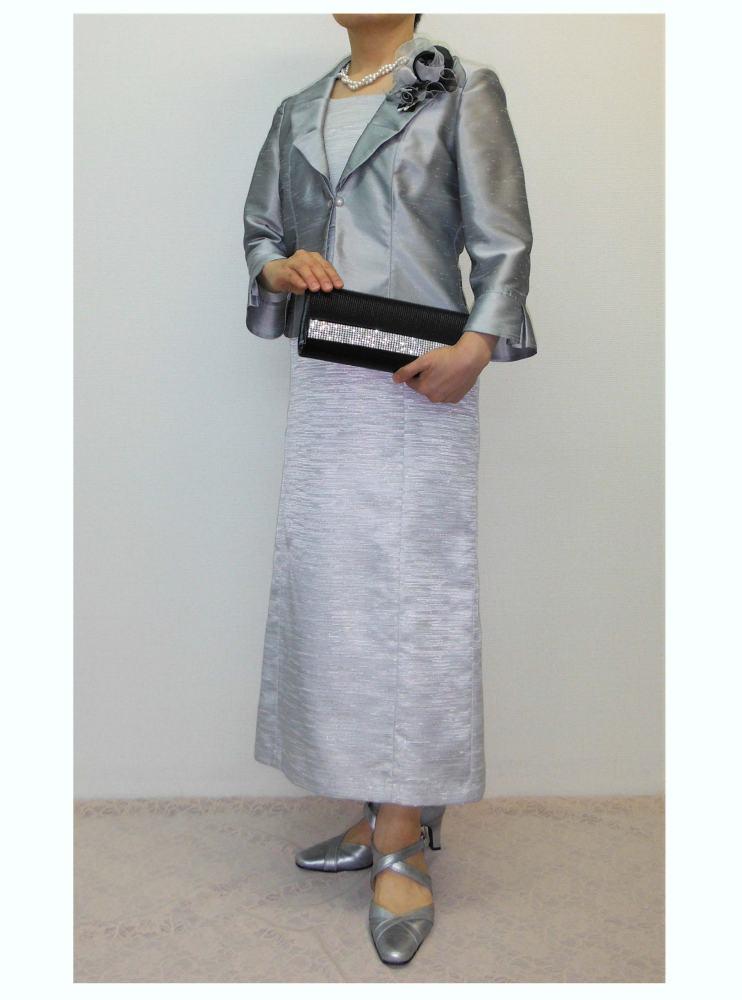 上品な光沢のシャンタンジャケットとラメグログランドレス